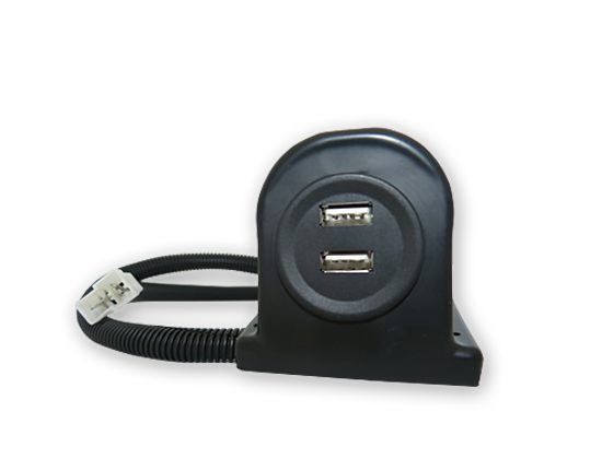 USB double charger FF 250 plug, with 800mm cable and installations housing